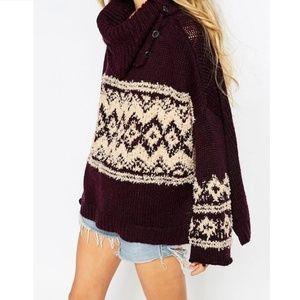 Free People Ragnar Fair Isle Split Neck Sweater
